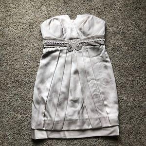 NWT! BCBGMAXAZRIA Light Gray Strapless Dress.